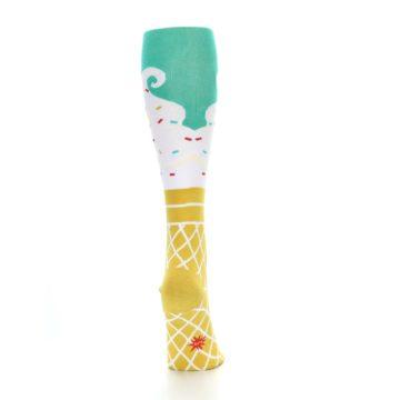 Image of Tan White Green Ice Cream Women's Knee High Socks (back-18)