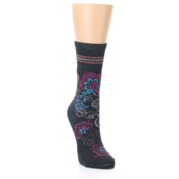 Image of Charcoal Floral Wool Women's Casual Socks (side-1-front-02)