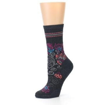 Image of Charcoal Floral Wool Women's Casual Socks (side-2-09)