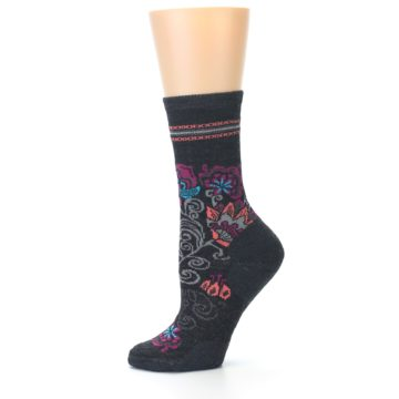Image of Charcoal Floral Wool Women's Casual Socks (side-2-10)