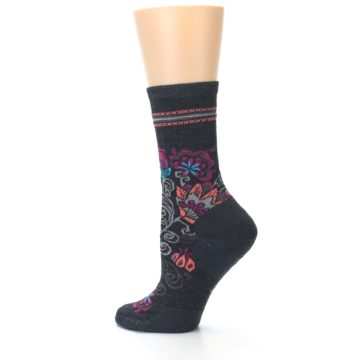 Image of Charcoal Floral Wool Women's Casual Socks (side-2-12)