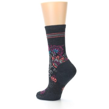 Image of Charcoal Floral Wool Women's Casual Socks (side-2-13)