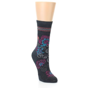 Image of Charcoal Floral Wool Women's Casual Socks (side-1-27)