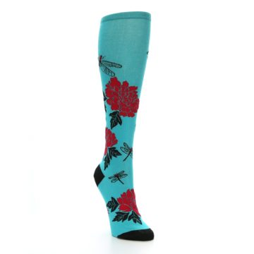 Image of Teal Red Black Peonies Women's Knee High Socks (side-1-front-02)