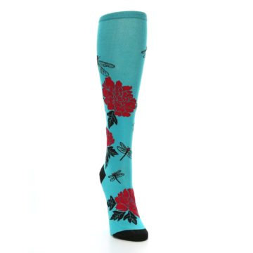 Image of Teal Red Black Peonies Women's Knee High Socks (side-1-front-03)