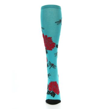 Image of Teal Red Black Peonies Women's Knee High Socks (front-05)