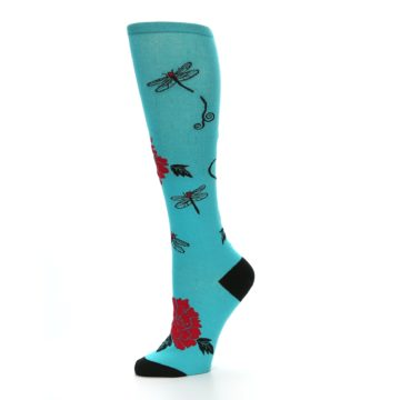 Image of Teal Red Black Peonies Women's Knee High Socks (side-2-10)