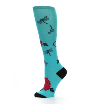Image of Teal Red Black Peonies Women's Knee High Socks (side-2-11)