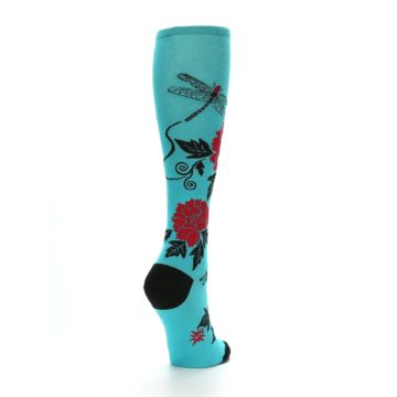 Image of Teal Red Black Peonies Women's Knee High Socks (side-1-back-20)