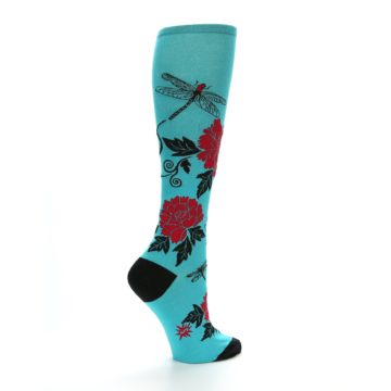 Image of Teal Red Black Peonies Women's Knee High Socks (side-1-back-22)