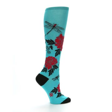 Image of Teal Red Black Peonies Women's Knee High Socks (side-1-23)