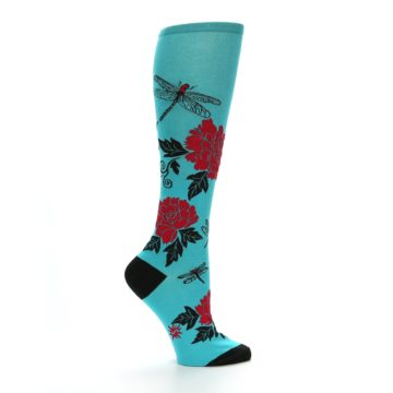 Image of Teal Red Black Peonies Women's Knee High Socks (side-1-24)