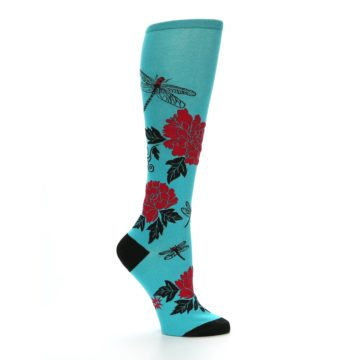 Image of Teal Red Black Peonies Women's Knee High Socks (side-1-25)