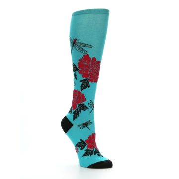 Image of Teal Red Black Peonies Women's Knee High Socks (side-1-26)