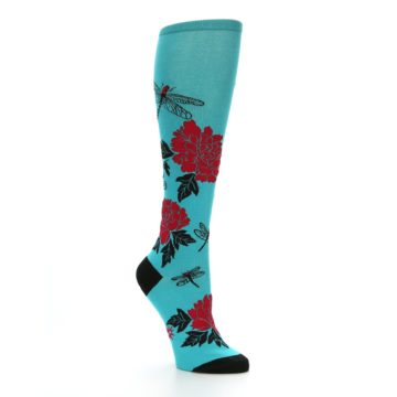 Image of Teal Red Black Peonies Women's Knee High Socks (side-1-27)