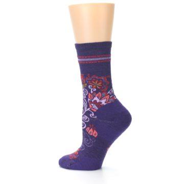 Image of Purple Floral Wool Women's Casual Socks (side-2-12)