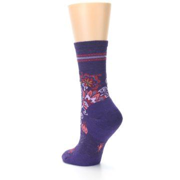 Image of Purple Floral Wool Women's Casual Socks (side-2-back-14)