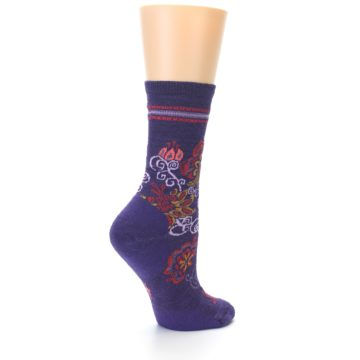 Image of Purple Floral Wool Women's Casual Socks (side-1-back-22)