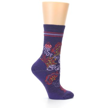 Image of Purple Floral Wool Women's Casual Socks (side-1-24)