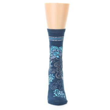 Image of Deep Blue Floral Wool Women's Casual Socks (front-04)