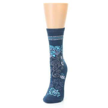 Image of Deep Blue Floral Wool Women's Casual Socks (side-2-front-06)