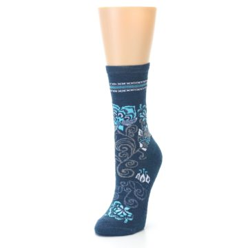Image of Deep Blue Floral Wool Women's Casual Socks (side-2-front-07)