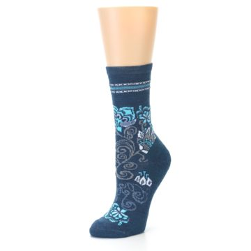 Image of Deep Blue Floral Wool Women's Casual Socks (side-2-front-08)