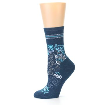 Image of Deep Blue Floral Wool Women's Casual Socks (side-2-10)