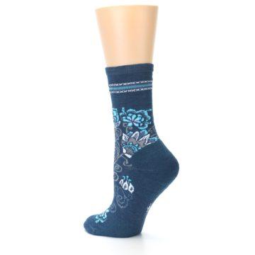 Image of Deep Blue Floral Wool Women's Casual Socks (side-2-13)