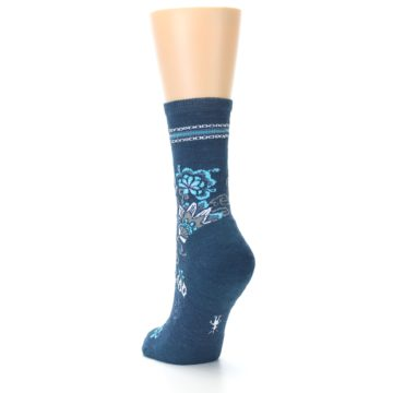 Image of Deep Blue Floral Wool Women's Casual Socks (side-2-back-15)
