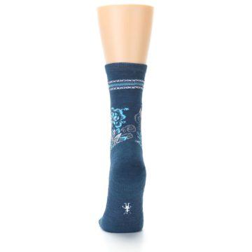 Image of Deep Blue Floral Wool Women's Casual Socks (back-17)
