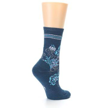 Image of Deep Blue Floral Wool Women's Casual Socks (side-1-back-22)