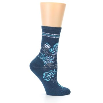 Image of Deep Blue Floral Wool Women's Casual Socks (side-1-24)