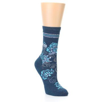 Image of Deep Blue Floral Wool Women's Casual Socks (side-1-26)