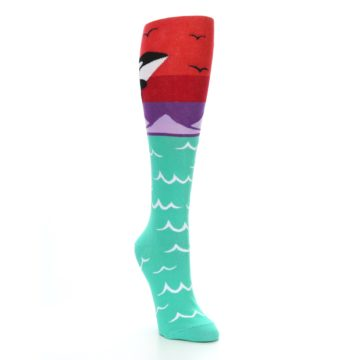Image of Green Red Purple Orca Women's Knee High Socks (side-1-front-02)