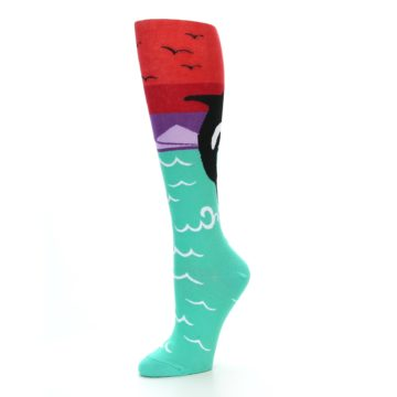 Image of Green Red Purple Orca Women's Knee High Socks (side-2-09)