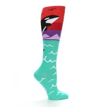 Image of Green Red Purple Orca Women's Knee High Socks (side-1-24)