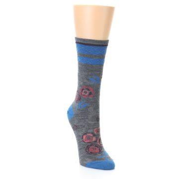 Image of Grey Blue Floral Wool Women's Casual Socks (side-1-front-02)