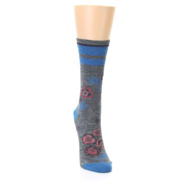 Image of Grey Blue Floral Wool Women's Casual Socks (side-1-front-03)