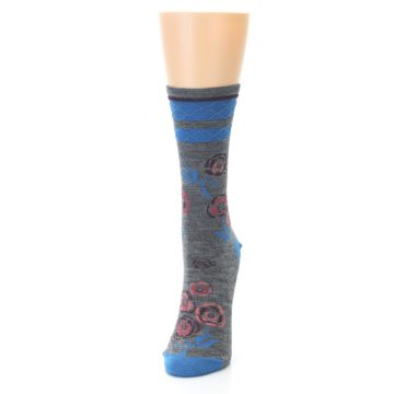 Image of Grey Blue Floral Wool Women's Casual Socks (side-2-front-06)