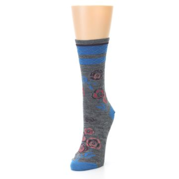 Image of Grey Blue Floral Wool Women's Casual Socks (side-2-front-07)