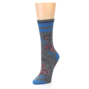 Image of Grey Blue Floral Wool Women's Casual Socks (side-2-front-08)