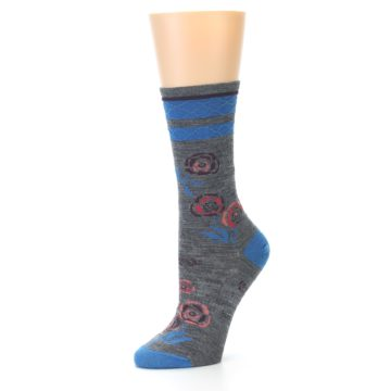 Image of Grey Blue Floral Wool Women's Casual Socks (side-2-09)