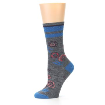 Image of Grey Blue Floral Wool Women's Casual Socks (side-2-10)