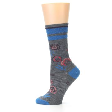 Image of Grey Blue Floral Wool Women's Casual Socks (side-2-11)