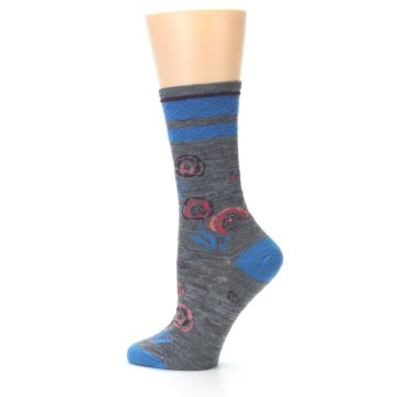 Image of Grey Blue Floral Wool Women's Casual Socks (side-2-12)