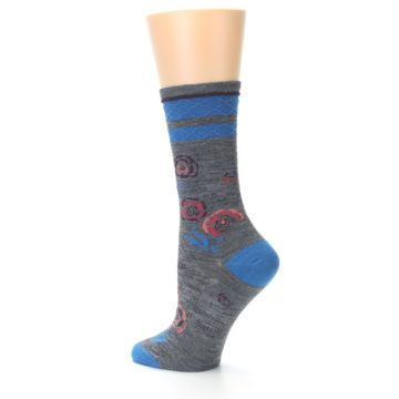 Image of Grey Blue Floral Wool Women's Casual Socks (side-2-13)