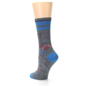Image of Grey Blue Floral Wool Women's Casual Socks (side-2-back-14)
