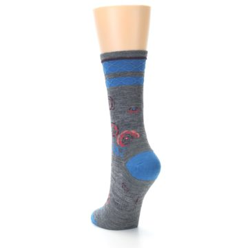 Image of Grey Blue Floral Wool Women's Casual Socks (side-2-back-15)