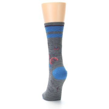 Image of Grey Blue Floral Wool Women's Casual Socks (side-2-back-16)